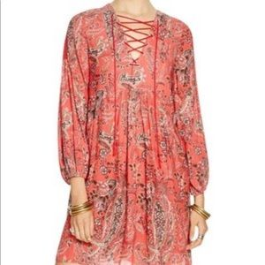 Free people red paisley lace up dress